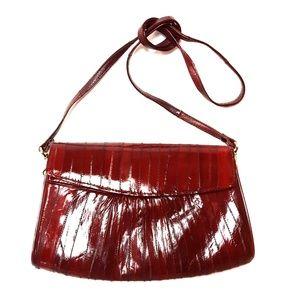 Vintage 80's Red Eel Skin Clutch - So Soft!
